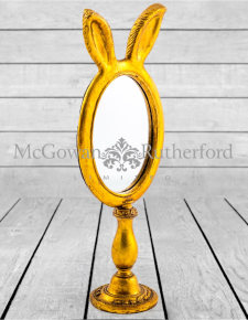 Large Antique Gold Rabbit Ears Table Mirror