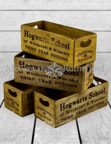 "Set of 4 Antiqued ""Witchcraft & Wizardry"" Wooden Boxes"