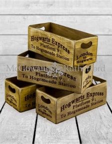 "Set of 4 Antiqued ""Platform 9 & 3/4"" Wooden Boxes"