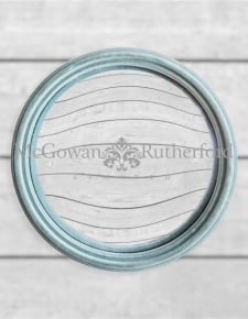 Light Grey/Blue Flock Thin Framed Large Convex Mirror