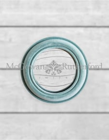 Light Grey/Blue Flock Rounded Framed Small Convex Mirror