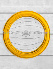 Mustard Yellow Flock Rounded Framed Large Convex Mirror