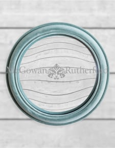Light Grey/Blue Flock Rounded Framed Large Convex Mirror