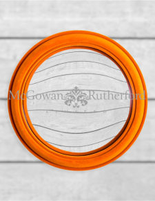 Bright Orange Flock Rounded Framed Large Convex Mirror