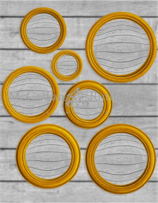 Set of 7 Assorted Mustard Yellow Flock Convex Mirrors