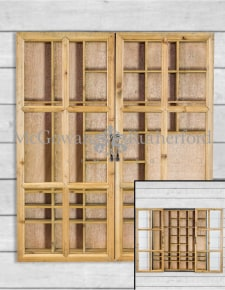 Rustic Wooden and Black Sliding Door Wall Cabinet