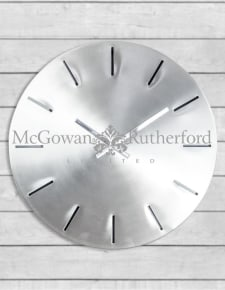 Large Brushed Steel Metal Wall Clock