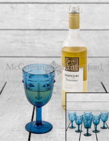 Set of 6 Blue Deco Face Wine Glasses