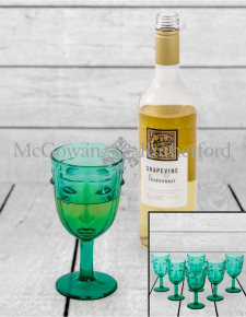 Set of 6 Teal Deco Face Wine Glasses