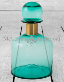 Large Teal Glass Apothecary Bottle with Brass Neck
