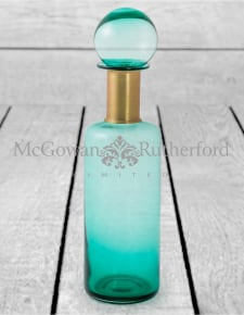 Slim Teal Glass Apothecary Bottle with Brass Neck