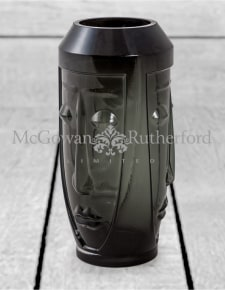 Tall Black Glass Deco Face Vase