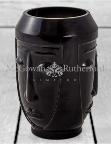 Black Glass Deco Face Vase