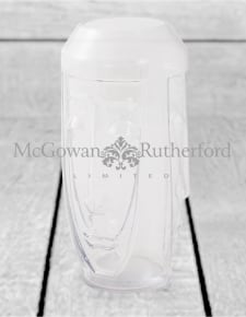 Tall Clear Glass Deco Face Vase