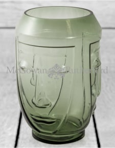Green Glass Deco Face Vase