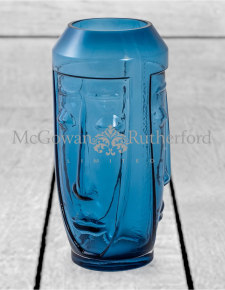 Tall Blue Glass Deco Face Vase