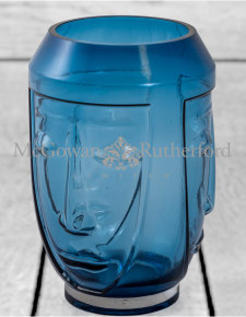 Blue Glass Deco Face Vase