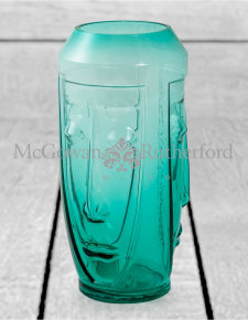 Tall Teal Glass Deco Face Vase
