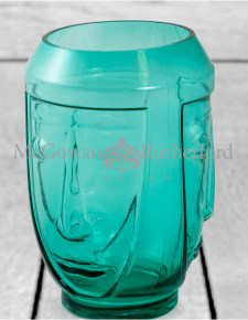 Teal Glass Deco Face Vase