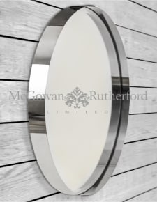Medium Chromed Stainless Steel Round Holden Wall Mirror