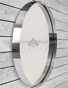 Large Chromed Stainless Steel Round Holden Wall Mirror