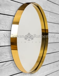 Medium Brass Stainless Steel Round Holden Wall Mirror