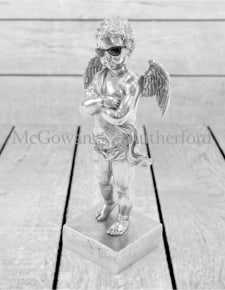 "Silver ""Too Cool"" Cherub Figure on Base"