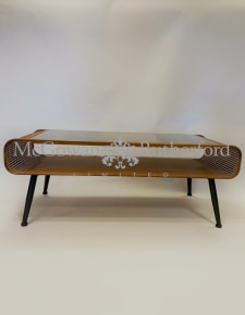 Rustic Metal Rattan Retro Coffee Table with Glass Top