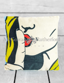 "Embroidered ""Shhh"" Pop Art Style Cushion"