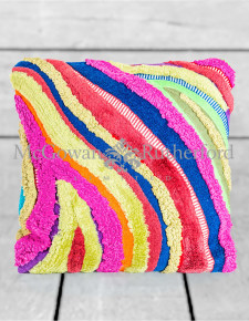 Multicolour Recycled Patchwork Wave Cushion
