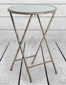 Antique Silver/Champagne Leaf Metal Bamboo Side Table