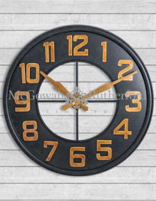 Antiqued Iron Large Wall Clock with Gold Numbers