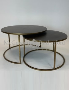 Nest of 2 Antique Gold Metal Coffee Tables