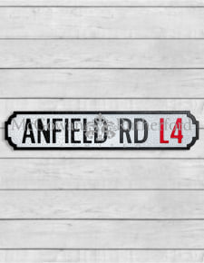 "Antiqued Wooden ""Anfield Road L4"" Road Sign"