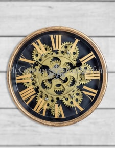 Black and Gold Small Moving Gears Clock