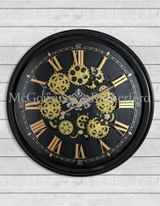 Black and Gold Large Moving Gears Clock