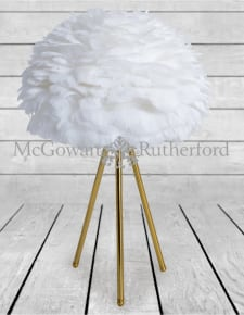 Brushed Brass Tripod Table Lamp with White Feather Shade