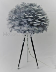Chrome Tripod Table Lamp with Grey Feather Shade