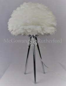 Chrome Tripod Table Lamp with White Feather Shade