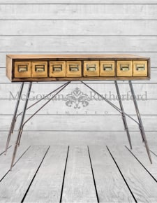Industrial Metal and Wooden Console Table