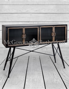 "Black and Antique Gold ""Orwell"" Wide Side Cabinet"