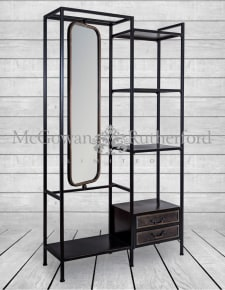 "Black and Antique Gold ""Orwell"" Dressing Shelf Unit with Mirror"