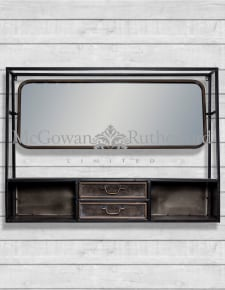 "Black and Antique Gold ""Orwell"" Wide Metal Wall Shelf with Mirror"