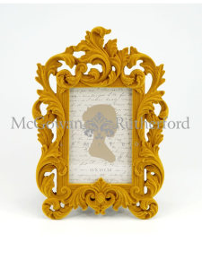 Mustard Yellow Flock Ornate Photo Frame