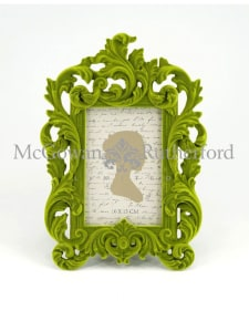 Bright Green Flock Ornate Photo Frame