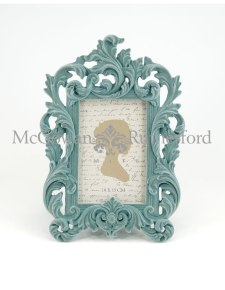 Light Blue/Grey Flock Ornate Photo Frame