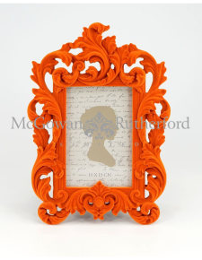 Bright Orange Flock Ornate Photo Frame