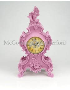 Soft Pink Flock Ornate Mantle Clock