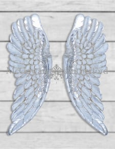 Pair of Antique Silver Wall Hanging Angel Wings