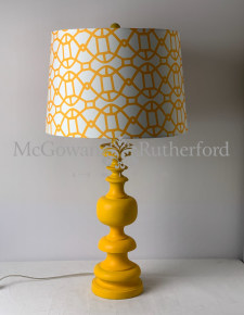 Matt Mustard Yellow Column Table Lamp with Patterned Shade